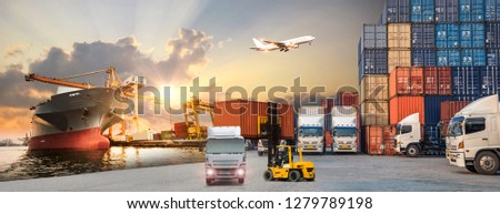 Industrial Container Cargo freight ship, forklift handling container box loading for logistic import export and transport industry concept backgroundtransport industry background #1279789198
