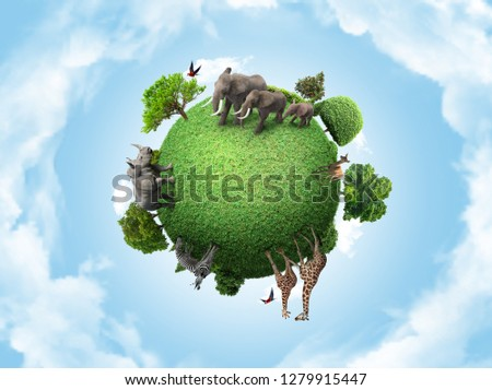 Green peace earth, miniature planet, globe concept showing a green, peaceful and animals herbivore life  Royalty-Free Stock Photo #1279915447