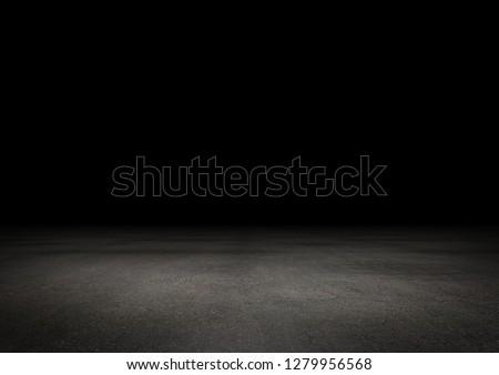 Dark Floor Background Black Empty Space for Retouching #1279956568