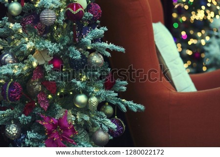 a New Year and Christmas background with decorated tree #1280022172
