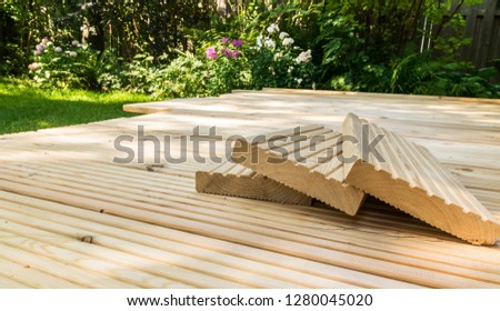 picture of a patio with wood planks