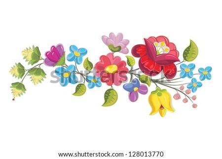 Hungarian folk kalocsai floral ornament motif element (vector) #128013770