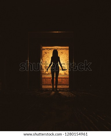 Behind that doors,Woman with knife walking alone in haunted house,3d illustration #1280154961