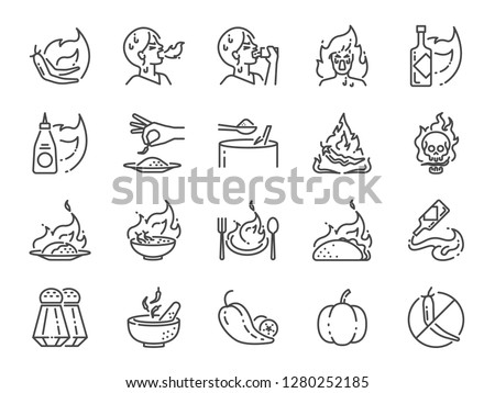 Spicy line icon set. Included the icons as Tom yum kung, Chili, Ghost pepper, seasoning, flavor, hot and more. #1280252185