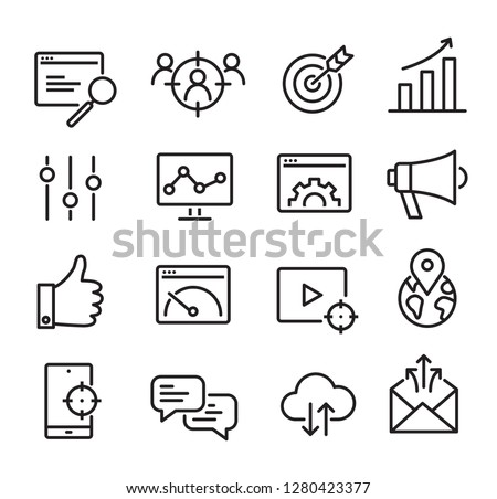 Collection of SEO icons - can be used to illustrate topics about SEO optimization, data analytics, website performace Royalty-Free Stock Photo #1280423377