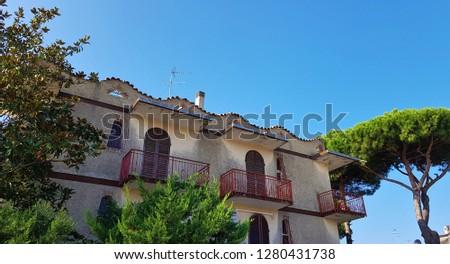 Lido delle Nazioni, Emilia-Romagna, Italy- September 2018; old villa in Lido delle Nazioni, Adriatic Sea, Italy #1280431738