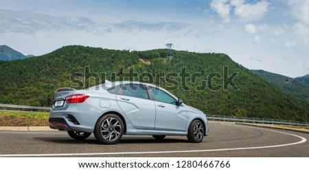 Sochi, Krasnodar region, Russia - August 31, 2018: Тhe new prestigious LADA Vesta Sport car on high-speed roads of Russian Federation. Presentation the new vehicle production of AVTOVAZ #1280466766
