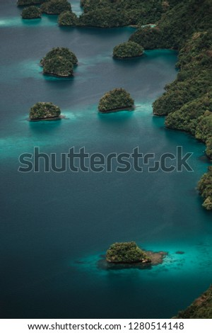 Micronesia, Palau, Aerial View of Rock Islands and World Heritage Site #1280514148