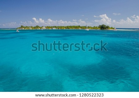 Belize, Stann Creek District. South Water Caye Marine Reserve (UNESCO), 12-acre tropical island in the Caribbean Sea. Clear blue ocean, island and reef view. Royalty-Free Stock Photo #1280522323