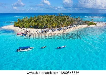 """Espectacular Aerial view of Johnny Cay In San Andres Island, (Colombia) Amazing clear water, """"El mar de siete colores"""" #1280568889"""