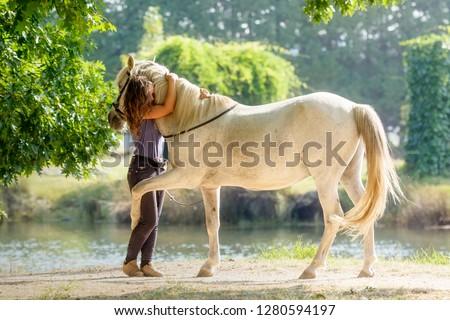 Purebred Arabian Horse hugging his owner #1280594197