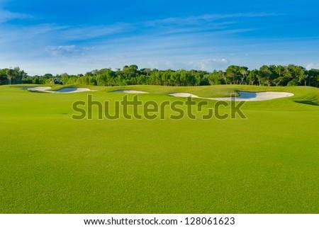 Sand bunkers on the golf course. Mexican resort. Bahia Principe, Riviera Maya.