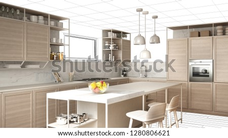 Interior design project draft, work in progress concept idea, real modern white and wooden kitchen in sketched background, architect designer project desktop screen-shot, 3d illustration #1280806621