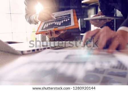 Businessman hands working with laptop computer, tablet and smart phone in modern office with virtual icon. Business concept. #1280920144
