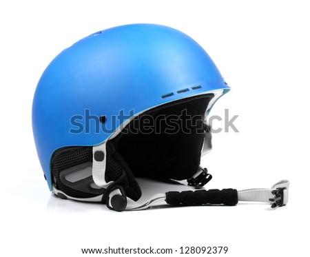 blue helmet isolated on white Royalty-Free Stock Photo #128092379