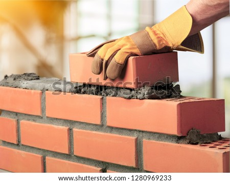 Bricklayer cement masonry build layer house worker #1280969233