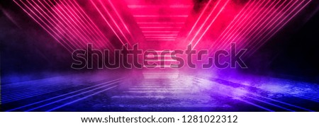 Dark background of the street, thick fog, spotlight, blue and red neon. Abstract background with neon lights, night view. Royalty-Free Stock Photo #1281022312