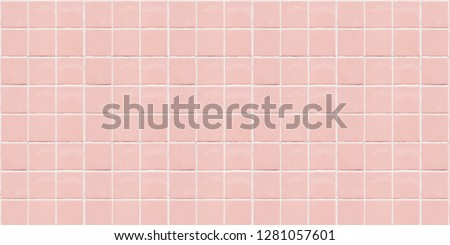 Pink ceramic square mosaic tiles texture background. Royalty-Free Stock Photo #1281057601