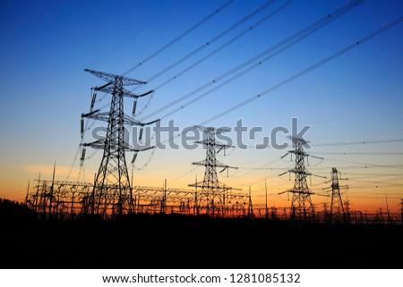 The silhouette of pylon, the pylon in the evening #1281085132