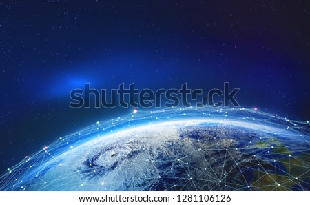 Earth view from space. Global network. Blockchain technology. Planet and communication. Future world 3D illustration. Elements of this image are furnished by NASA #1281106126