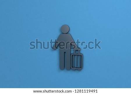Traveler 3D illustration, dark color on blue background #1281119491