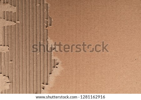 Texture of corrugated cardboard with torn edges. Texture cardboard packaging. Cardboard texture. Cardboard Mesh Background #1281162916