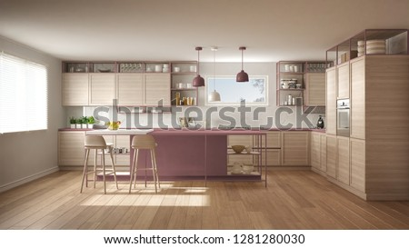 Modern white and red kitchen with wooden details and parquet floor, modern pendant lamps, minimalistic interior design concept idea, island with stools and accessories, 3d illustration #1281280030