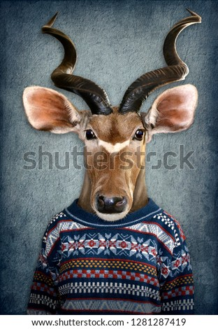 Antelope in clothes. Man with a head of an antelope. Concept graphic in vintage style with soft oil painting style #1281287419