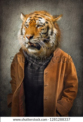 Tiger in clothes. Man with a head of an tiger. Concept graphic in vintage style with soft oil painting style
