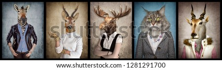 Animals in clothes. People with heads of animals. Concept graphic, photo manipulation for cover, advertising, prints on clothing and other. Zebra, deer, moose, cat, goat.  #1281291700
