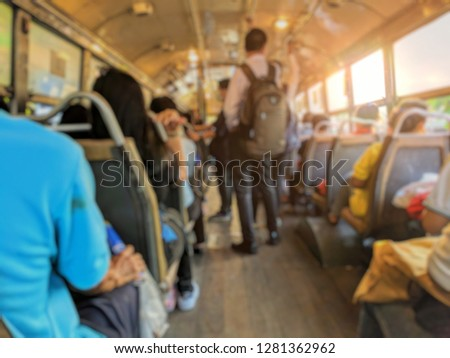 Blurred images, people on bus, Passengers on economy class buses in Bangkok Thailand #1281362962