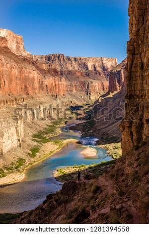 View from the Anasazi ruins. Nankoweap Granaries. Colorado River. Grand Canyon. Arizona. USA. #1281394558