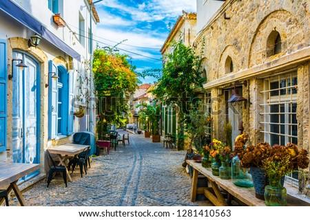 Alacati street view in Alacati Town. Alacati is populer historical tourist destination in Turkey. #1281410563
