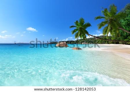 Anse Lazio beach at Praslin island, Seychelles #128142053