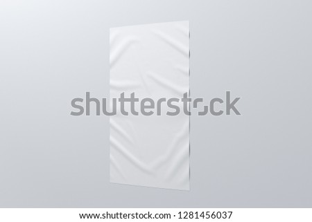 Blank vertical wrinkled street poster on white wall. With clipping path around poster. 3d illustration #1281456037