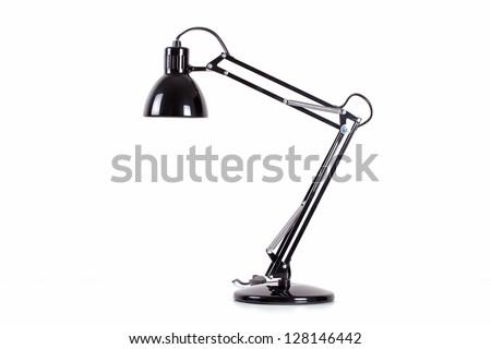 Vintage black desk lamp isolated on white #128146442