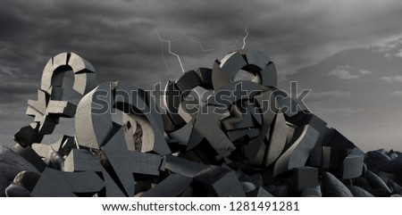 3d illustration of various damaged symbols with stones  against full frame shot of sky #1281491281