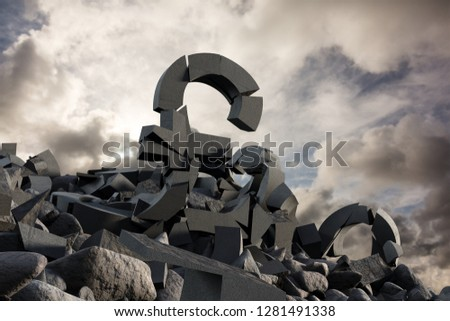 3d image of various damaged symbols with stones  against full frame shot of sky #1281491338