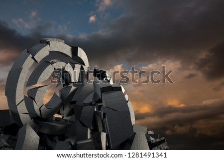 3d composite image of damaged At sign with various symbols  against full frame shot of sky #1281491341
