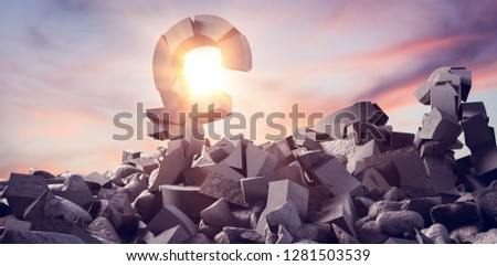 3d image of various damaged signs with rocks against full frame shot of sky #1281503539