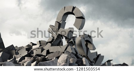 3d image of damaged pound symbol with stones against full frame shot of sky #1281503554