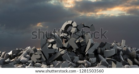 3d image of damaged various signs with stones  against full frame shot of sky #1281503560