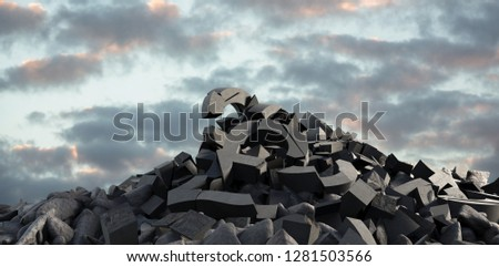 3d image of various damaged signs with stones against full frame shot of sky #1281503566