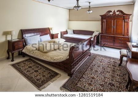 rustic retro bedroom. interior #1281519184