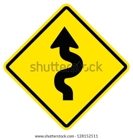 Winding Road Sign Royalty-Free Stock Photo #128152511