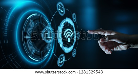 Wi Fi wireless concept. Free WiFi network signal technology internet concept. Royalty-Free Stock Photo #1281529543
