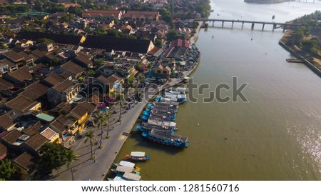 Aerial view panorama of Hoi An old town or Hoian ancient town. Royalty high-quality free stock photo image top view rooftop of street walking in Hoi An city. HoiAn city is UNESCO world heritage site