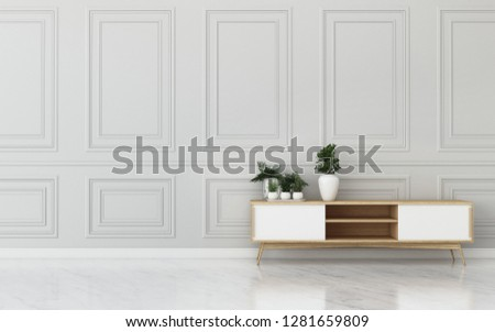 Common space in hotel.empty room with wooden cabinet.classic interior design. -3d rendering #1281659809