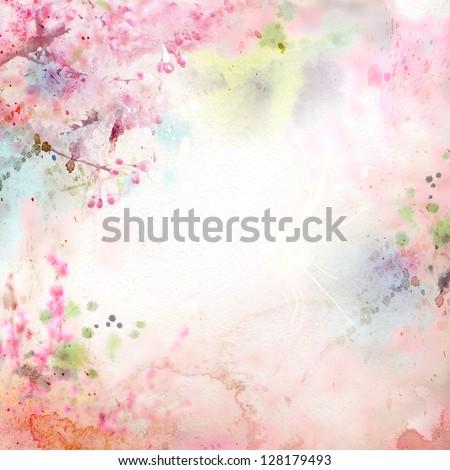 Scenic watercolor background, floral composition Sakura #128179493