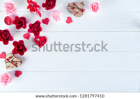Wooden white background with red hearts, gifts and candles. The concept of Valentine Day, flat lay copy space #1281797410